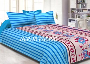 Blue Slanting Stripes with Pink Border Cotton Double Bed Sheet
