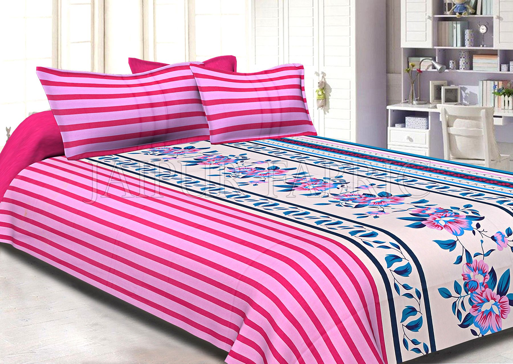 Pink Slanting Stripes with Blue Border Cotton Double Bed Sheet