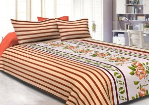 Brown Slanting Stripes with Green Border Cotton Double Bed Sheet