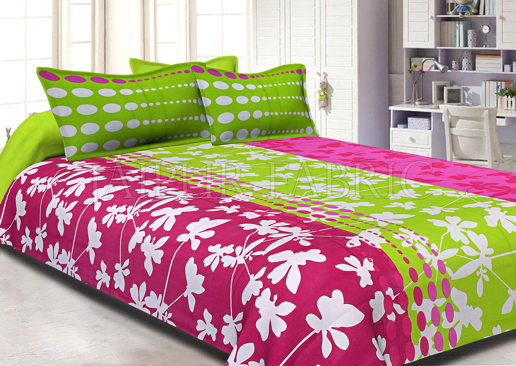 Pink and Green Printed Cotton Double Bed Sheet