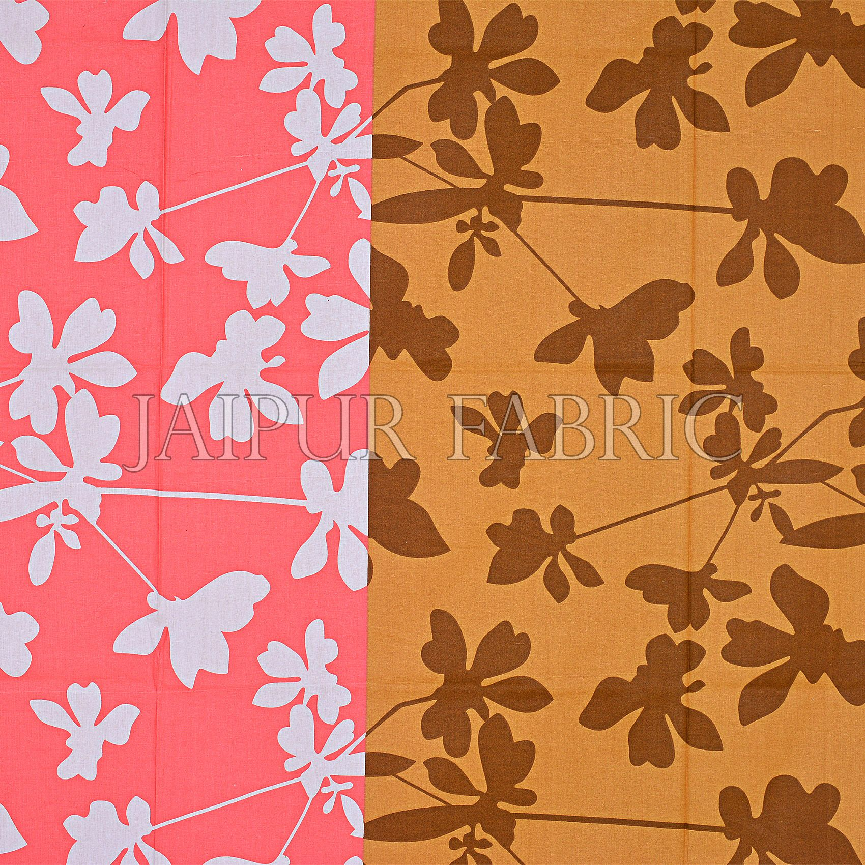 Brown and Peach Printed Cotton Double Bed Sheet