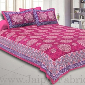 Pink Border With Zig Zag Pattern Pink Purple Base With Flowers Print Coton Double Bedsheet