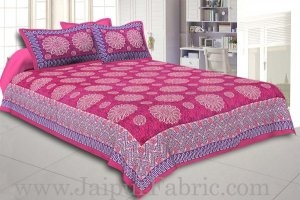 Wholesale Pink Border With Zig Zag Pattern Pink Purple Base With Flowers Print Coton Double Bedsheet