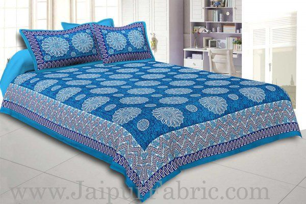 Wholesale Firozi Border With Zig Zag Pattern Firozi Blue Base With White Flowers Print Coton Double Bedsheet