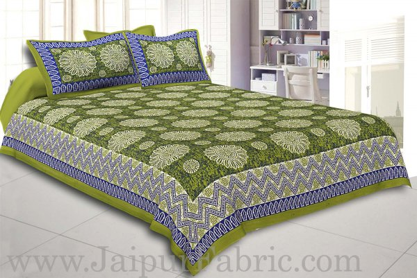 Green Border With Zig Zag Pattern Green Blue Base With White Flowers Print Coton Double Bedsheet