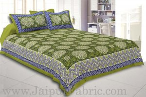 Wholesale Green Border With Zig Zag Pattern Green Blue Base With White Flowers Print Coton Double Bedsheet