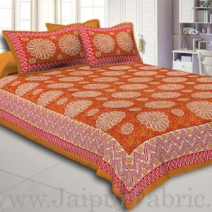 Brown Border With Zig Zag Pattern Brown Red Base With White Flowers Print Coton Double Bedsheet