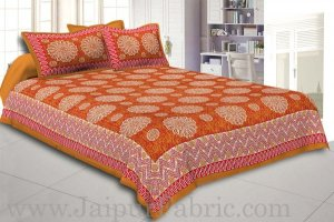 Wholesale Brown Border With Zig Zag Pattern Brown Red Base With White Flowers Print Coton Double Bedsheet