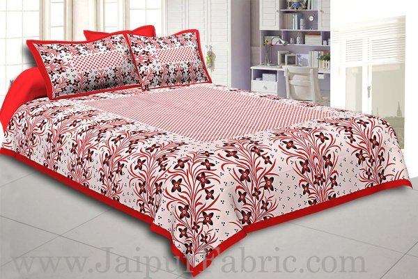 Wholesale Red Border White Base Red and Black Flower and Leaf Pattern Coton Double Bedsheet