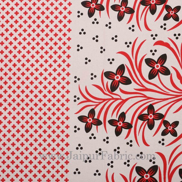 Red Border White Base Red and Black Flower and Leaf Pattern Coton Double Bedsheet