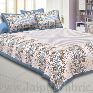 Grey Border White Base Brown and Grey Flower and Leaf Pattern Coton Double Bedsheet