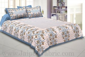 Wholesale Grey Border White Base Brown and Grey Flower and Leaf Pattern Coton Double Bedsheet