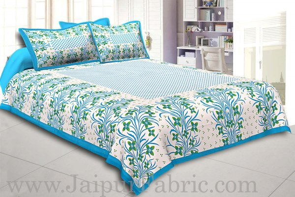 Firozi Border White Base Green Flower and Leaf Pattern Coton Double Bedsheet