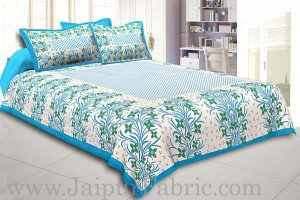 Wholesale Firozi Border White Base Green Flower and Leaf Pattern Coton Double Bedsheet