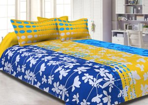 Blue and Yellow Printed Cotton Double Bed Sheet