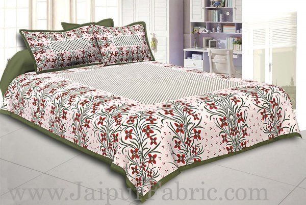 Wholesale Mehndi Border White Base Red and Green Flower and Leaf Pattern Coton Double Bedsheet