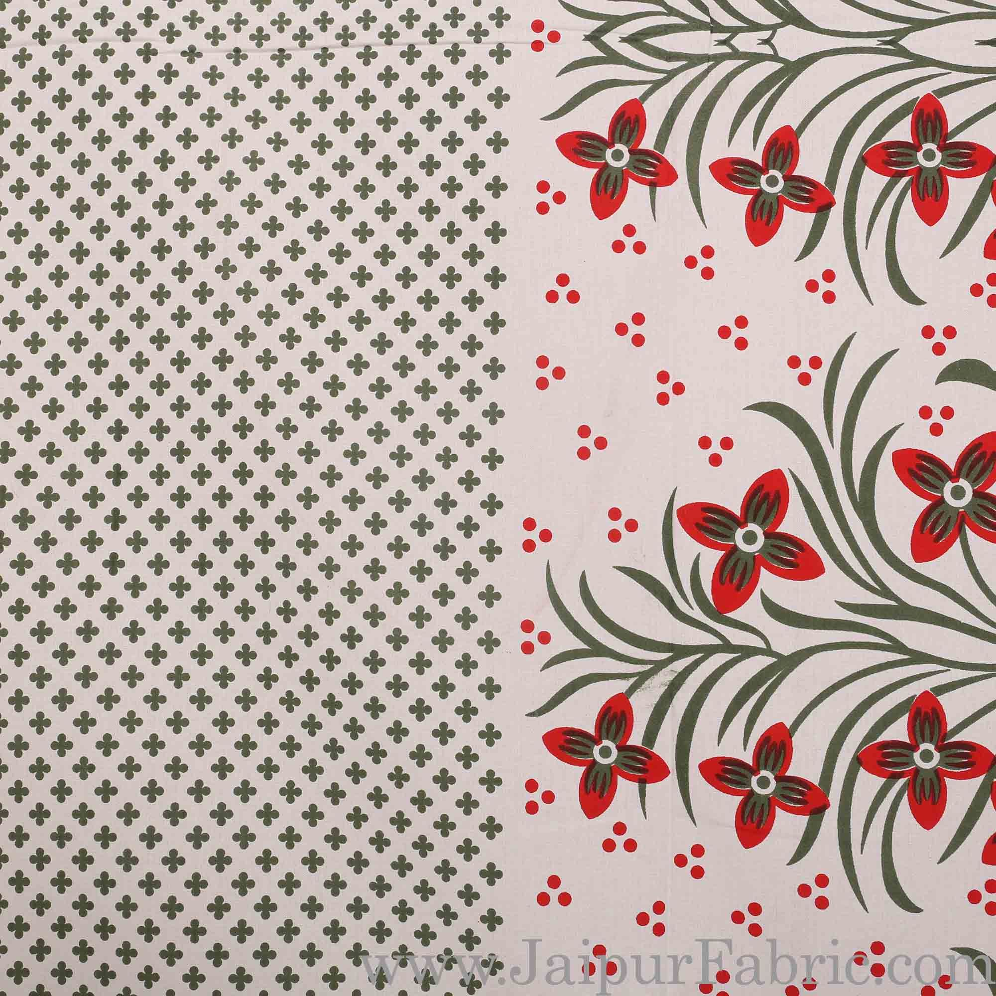 Mehndi Border White Base Red and Green Flower and Leaf Pattern Coton Double Bedsheet
