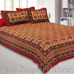 Red Border Peach Base Flower and Paisley Pattern Coton Double Bedsheet