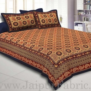 Navy Blue Border Light Brown Base Flower and Paisley Pattern Coton Double Bedsheet
