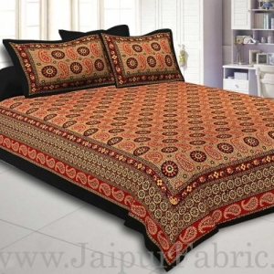 Black Border Light Brown Base Flower and Paisley Pattern Coton Double Bedsheet