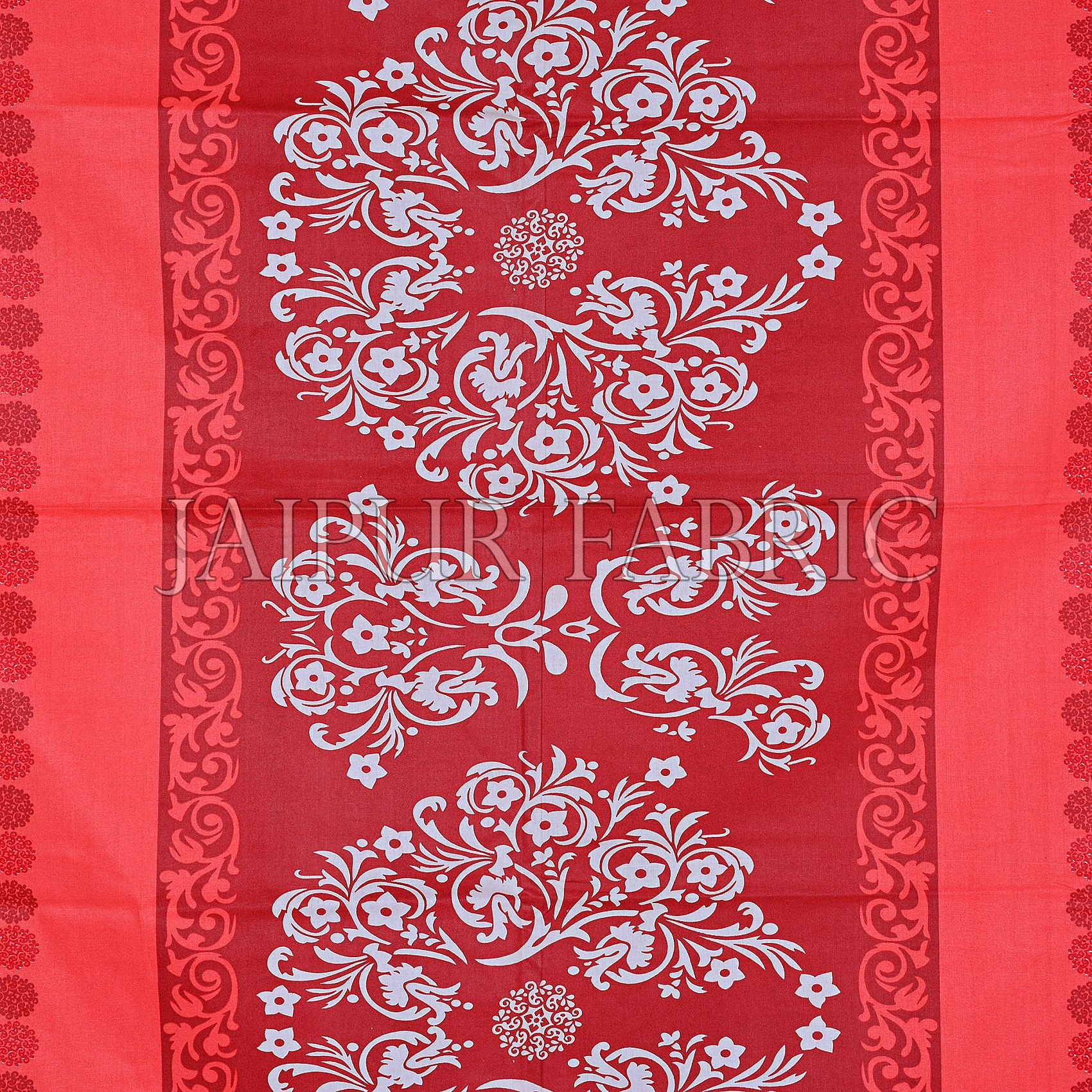 Red Rajasthani Block Printed Cotton Double Bed Sheet
