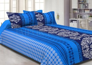 Blue Rajasthani Block Printed Cotton Double Bed Sheet