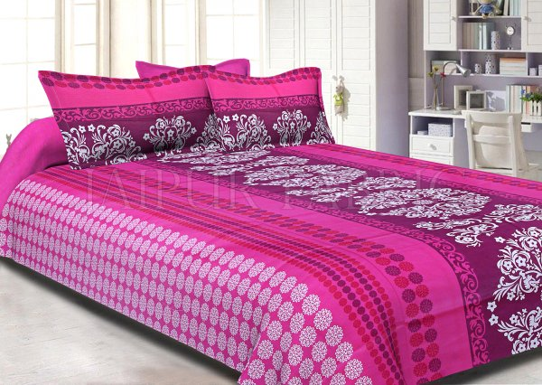 Pink Rajasthani Block Printed Cotton Double Bed Sheet