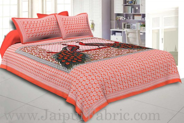 Peach Border Double Peacock Design Coton Double Bedsheet