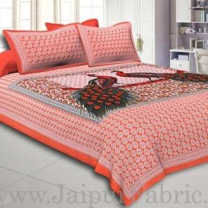 Peach Border Double Peacock Design Coton Double Bedsheet