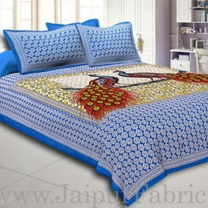 Firozi Border Double Peacock Design Coton Double Bedsheet