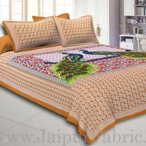Brown Border Double Peacock Design Coton Double Bedsheet