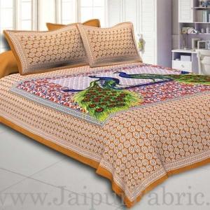Brown Border Double Peacock Design Coton Double Bedsheet