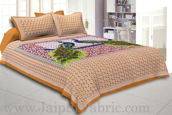 Wholesale Brown Border Double Peacock Design Coton Double Bedsheet
