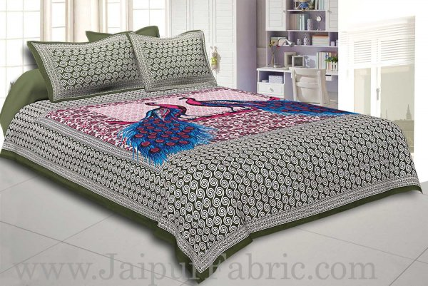 Green Border Double Peacock Design Coton Double Bedsheet
