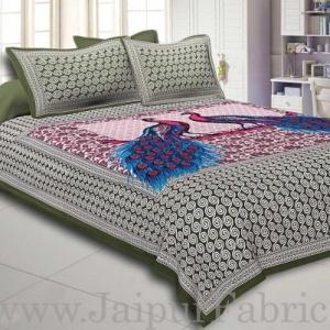 Green Border Double Peacock Design Coton Double Bedsheet