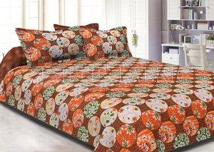 Brown Base Circle Polka Dot Pattern Cotton Double Bed Sheet