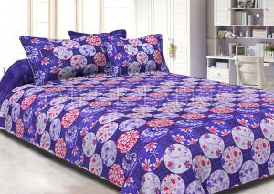 Purple Base Circle Polka Dot Pattern Cotton Double Bed Sheet