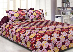 Rose Beige Circle Polka Dot Pattern Cotton Double Bed Sheet