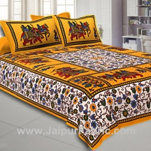 Double Bedsheet Yellow Border Gangaur Print Fine Cotton With Two Pillow Cover