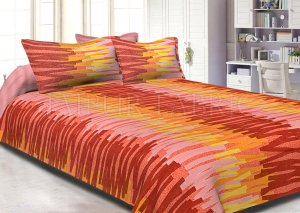 Orange Base Abstract Design Cotton Double Bed Sheet