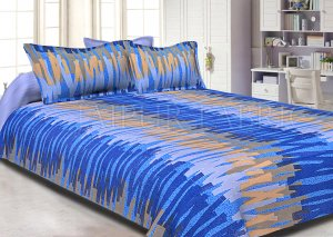 Blue Base Abstract Design Cotton Double Bed Sheet