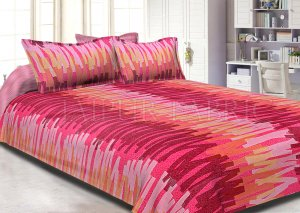 Pink Base Abstract Design Cotton Double Bed Sheet