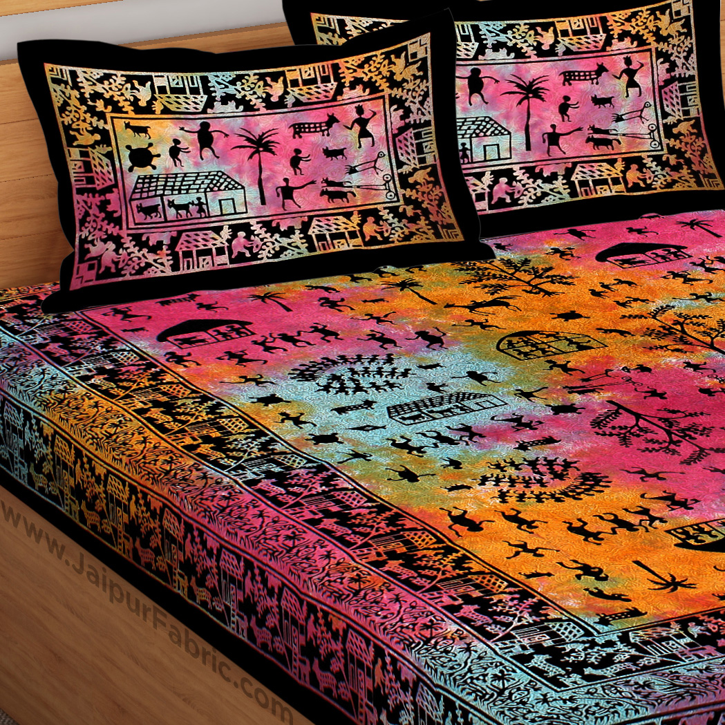 Tie And Dye Rural Pattern Super Fine Cotton Double Bed Sheet