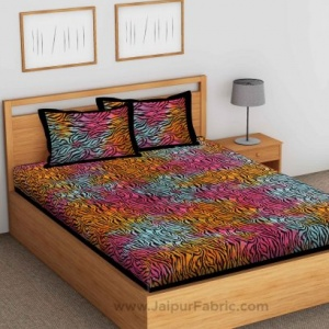 Tie And Dye Zebra Print Fine Cotton Double Bed sheet