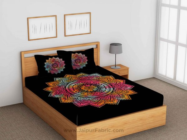 Tie And Dye Big Rangoli Print Black & White Bedsheet