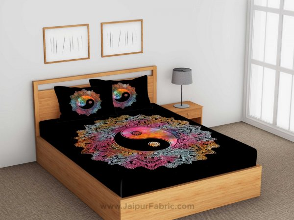 Tie And Dye Doordarshan Print Black & White Bedsheet