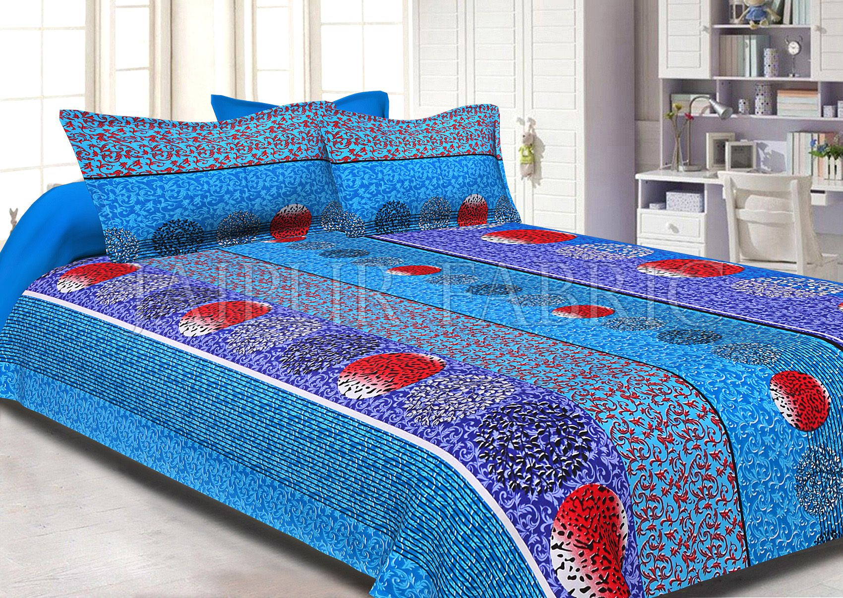 Blue Base Multi Color Tropical Print Cotton Double Bed Sheet