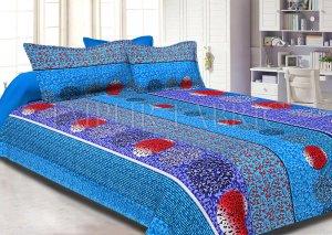 Blue Base Multi Color Tropical Print Cotton Double Bed Sheet