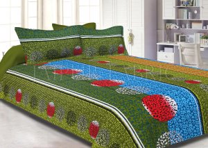 Green Base Multi Color Tropical Print Cotton Double Bed Sheet