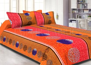 Multi Color Circle and Stripes Printed Cotton Double Bed Sheet
